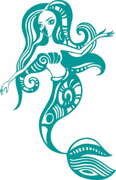 Mermaid Beach Ocean Tribal Girl Boat Car Window Vinyl Decal Sticker
