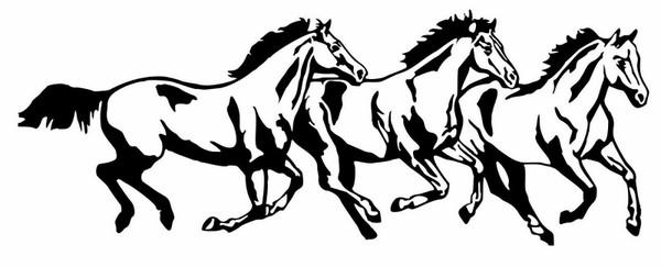 Horse Rodeo Western Horses Running Car Truck Window Laptop Vinyl Decal Sticker Black