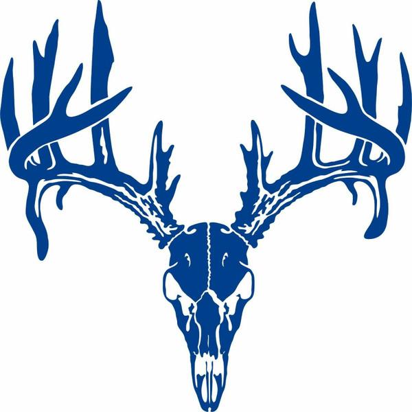 Deer Skull Antlers Bone Hunting Buck Car Truck Window Laptop Vinyl Decal Sticker Blue