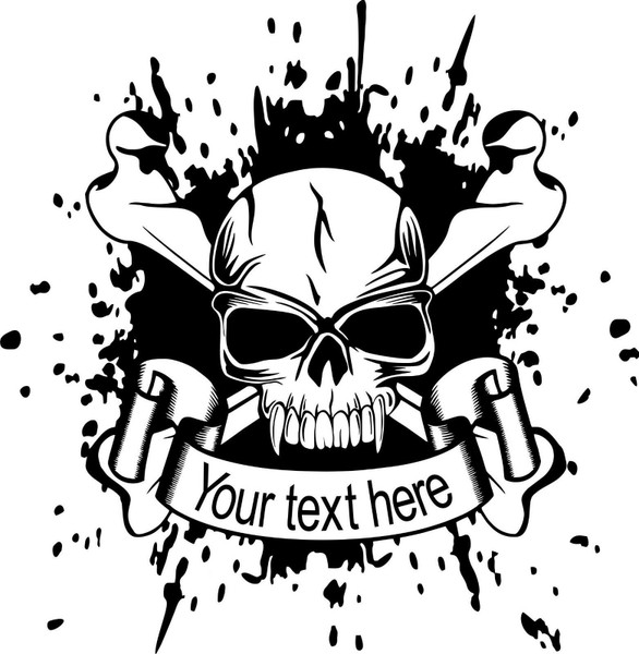 Custom Skull Crossbones Name Text Car Truck Window Laptop Vinyl Decal Sticker Black