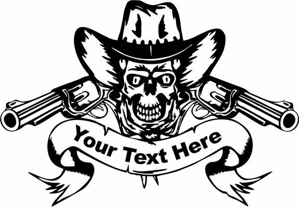 Cowboy Skull Rodeo Guns Custom Name Car Truck Window Laptop Vinyl Decal Sticker Black And White