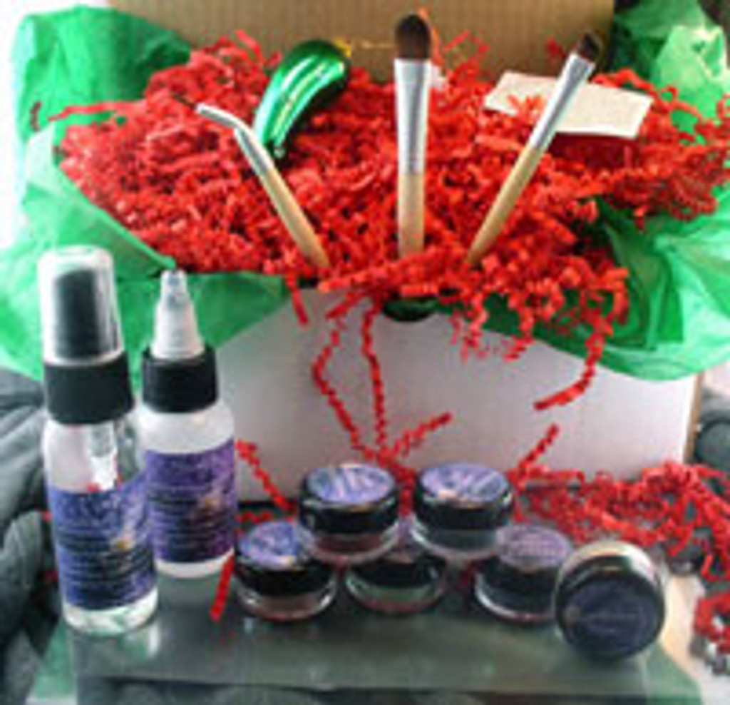 .Vegan Holiday Gift Box Deluxe Shadow Kit AND Glass Christmas Pickle Ornament and Legend of the Christmas Pickle