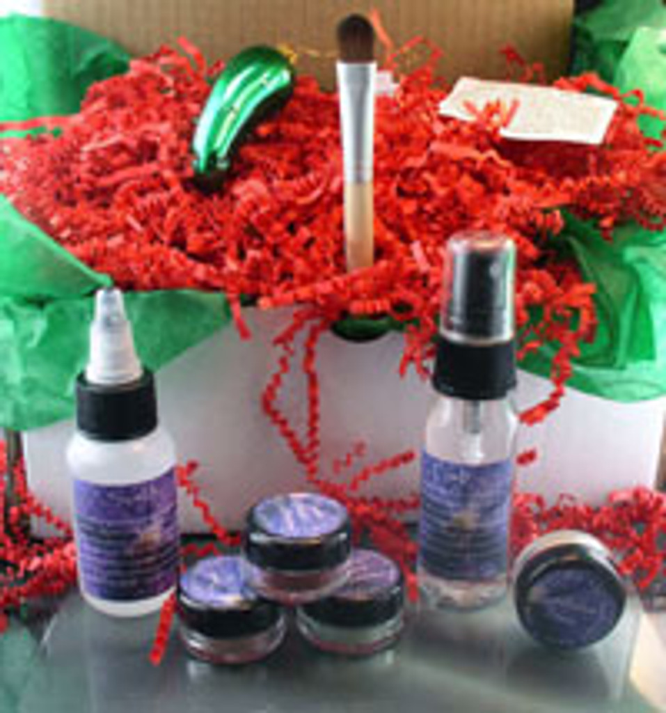 Vegan Holiday Gift Box The Eyes Have It Socking Stuffer Shadow Kit AND Glass Christmas Pickle Ornament and Legend of the Christmas Pickle