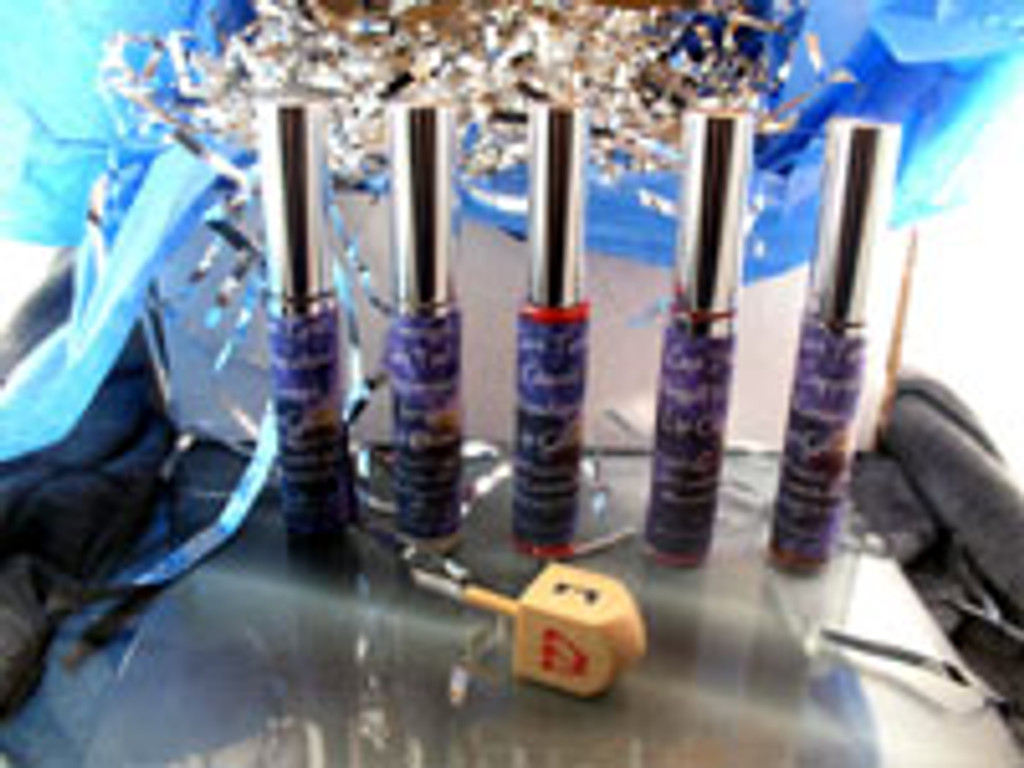 Vegan Hanukkah Gift Box 5 Vegan Lip Glosses AND Wooden Dreidel
