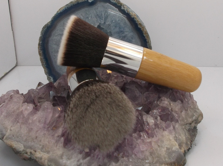 Vegan Flat Top  Kabuki  Long  Bamboo Handle Brush