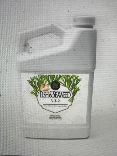 Fish & Seaweed 3-3-2   A blend of ocean fish and seaweed extracts designed to support healthy plant growth, flowering, and fruiting.      Increases biological activity in the soil     Helps develop strong roots      Reduces plant stress and transplant shock     Excellent source of naturally-derived plant nutrients     Aids in overall plant health