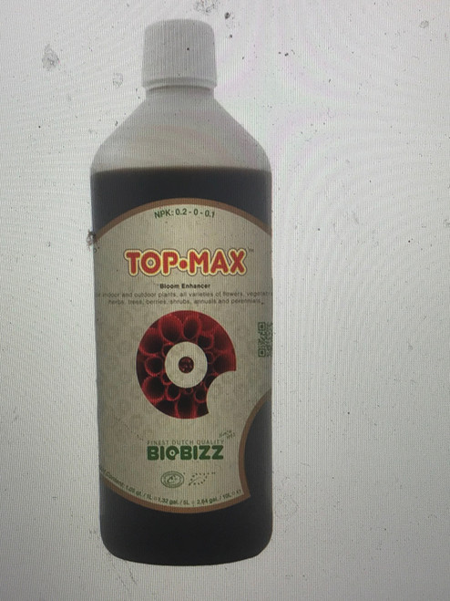 Top-Max Organic Bio-Stimulants  Top-Max is a 100% organic flowering strengthener which has the threefold purpose of dramatically increasing the actual size and weight of floral clusters, leaving a sweet smooth taste in the finished product, and facilitating the uptake of nutrients within the plants.      N-P-K: 0.2-0-0.1