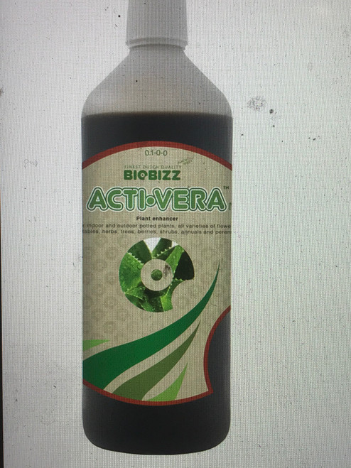 What is Acti·Vera? Acti·Vera has been designed to protect the immune system, increase metabolism and enhance nutrient absorption in all sorts of plants.  How to use it? Acti·Vera™ is very versatile. It can be used indoors and out on food crops, plantations, perennials and ornamental plants during the vegetative and flowering phase to stimulate growing and blooming. Biobizz recommends a dose of 5ml of Acti·Vera per 1 liter of water for watering from a can or in a foliar spray.  Why choose Acti·Vera™? Acti·Vera makes plants stronger and healthier, both inside and out. It protects and activates the immune system, increases germination and plant metabolism – breaking down sugars and enhancing nutrient absorption. It really is a super, natural power product for plants – and it's 100% vegan.