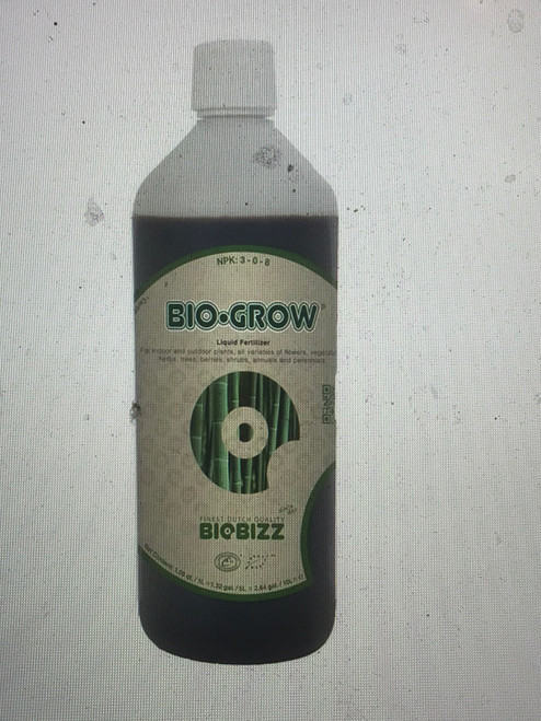 Bio-Grow liquid organic plant food is a liquid fertilizer applicable to most types of dirt and substrate mixtures. Bio-Grow activates the substrates' bacterial flora due to its base of 100% of Dutch organic sugar beet extract, commonly known as molasses. Bio-Grow contains 70 trace elements and vitamins B1, B2, C, and E. As with all Biobizz products, it has low phosphate contents (phosphates are considered harmful to the body and to the environment).