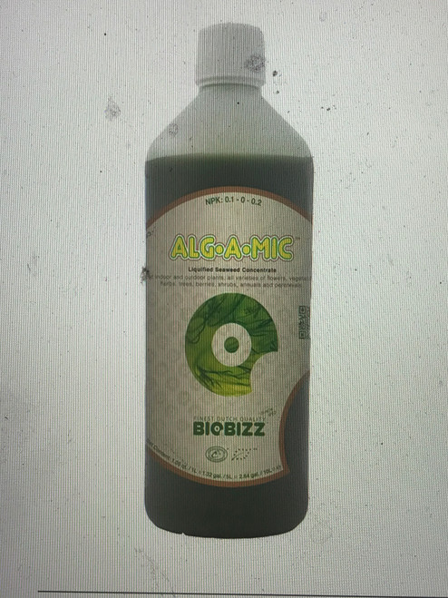 ALG-A-MIC Organic Bio-Stimulants  Alg-A-Mic is a revitalizing product made from a high-grade organic seaweed concentrate extracted through cold-press rather than chemical solvents. It contains a high content of trace elements and hormones of vegetable origin, naturally-occurring amino acids, and vitamins catering to the whole spectrum of plants' needs. It provides an exuberant green and is resistant to diseases.  N-P-K: 0.1-0-0.2