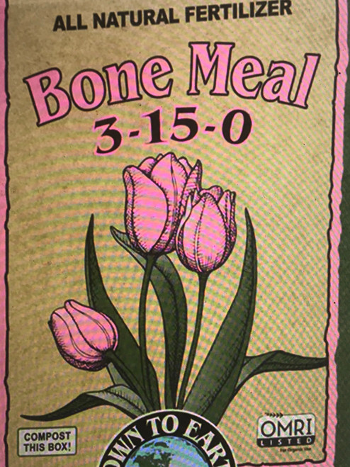 Down To Earth Bone Meal 3-15-0 Fertilizer A wonderful source of Phosphorus and Calcium for flowering plants, trees and ornamentals, Bone Meal is recognized as the ideal organic fertilizer when planting bulbs to promote strong root development and enhance early season growth.  5 lb. Box  OMRI Listed (Organic Materials Review Institute) CDFA Listed (Registered Organic Input Material)