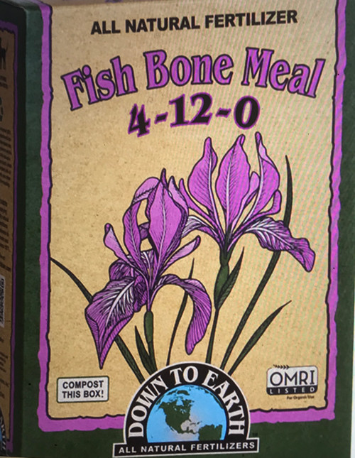 Down To Earth Fish Bone Meal 4-12-0 Fertilizer Fish Bone Meal is a marine based alternative to traditional steamed Bone Meal and is wonderful for all flowering plants, trees and shrubs. A great source of Phosphorus and Calcium, Fish Bone Meal also contains a small amount of Nitrogen and is an ideal fertilizer for new garden beds, perennials and bulbs.  5 lb. Box  OMRI Listed (Organic Materials Review Institute) CDFA Listed (Registered Organic Input Material)