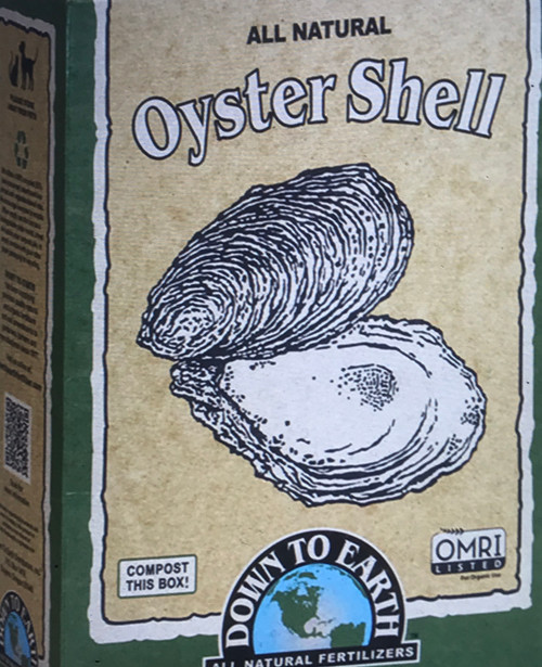 Down To Earth Oyster Shell An all natural source of high quality Calcium that is ground into varying sizes to ensure an immediate and sustained release of this valuable nutrient. Calcium promotes strong root development, improves nutrient uptake and boosts plant immunity. Oyster Shell builds optimum tilth by improving the texture, aeration and water penetration of soils.  5 lb. Box  OMRI Listed (Organic Materials Review Institute) CDFA Listed (Registered Organic Input Material)