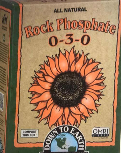 Down To Earth Rock Phosphate 0-3-0 Soft rock phosphate, or colloidal phosphate, is a natural, untreated source of long-lasting phosphate and soil-building calcium. Phosphate will remain available across a wide pH range. For best availability, soft rock phosphate should be mixed into soil or compost prior to planting.  5 lb. Box  OMRI Listed CDFA Listed (Registered Organic Input Material)