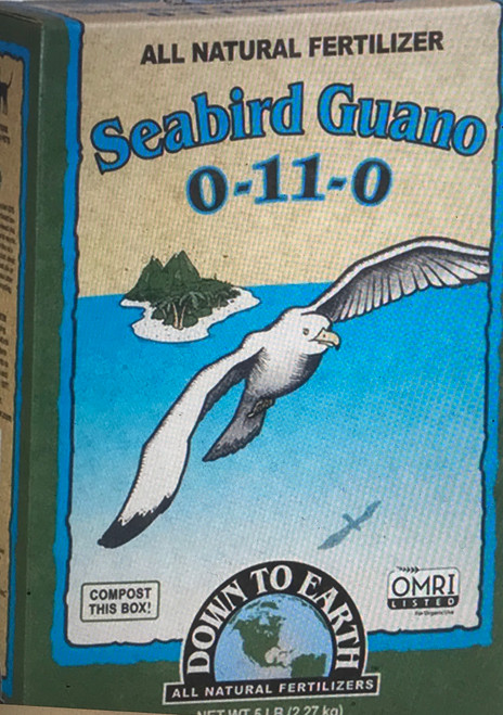 Down To Earth Seabird Guano 0-11-0 Fertilizer Use our high phosphorous Seabird Guano to dramatically increase both the quantity and size of blooms throughout the flowering period for all indoor and outdoor plants. Greatly enhances beneficial bacterial activity in the soil.  5 lb. Box  OMRI Listed (Organic Materials Review Institute) CDFA Listed (Registered Organic Input Material)