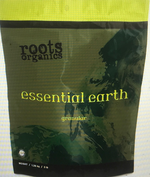 Roots Organics Essential Earth is a concentrated natural humic acid supplement derived from natural leonardite from a freshwater peat source. This premium humic acid soil conditioner is designed to aid in the uptake of micronutrients.  Ingredients: CONTAINS NONPLANT FOOD INGREDIENT Humic Acid 50% (derived from Leonardite)  Applicate rate: Top dress at 1 TBS per gallon of container size or mix into media at a rate of 1 to 2 cups per cubic foot of media. Add to a tea at rate of 1 cup per 10 gallons of solution. Use at the beginning of your growing season or every 2 to 4 weeks with young plants.