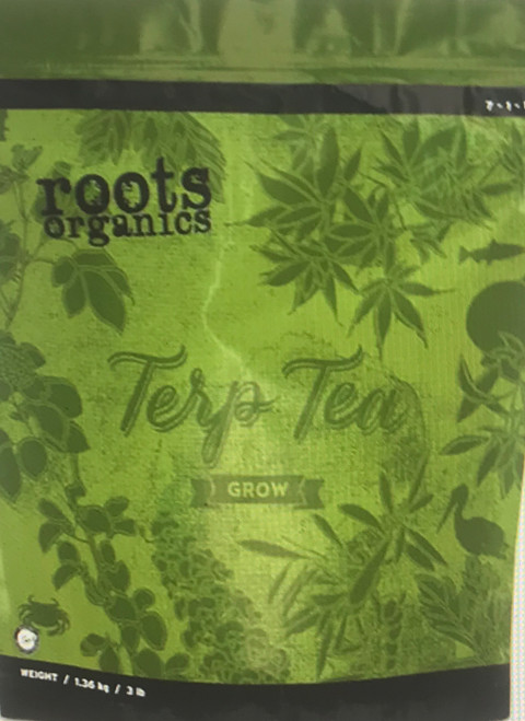 TERP TEA GROW NPK  /  7 - 1 - 1  DERIVED FROM: Bat Guano, Fish Bone Meal, Langbeinite, Kieserite, Dolomite, Soybean Meal, Feather Meal, Kelp Meal  Roots Organics Terp Tea Grow delivers critical nutrition for heavy-feeding, high-yield plants. Recommended for both large and small-scale gardens, this high-quality dry fertilizer is simple, comprehensive, and completely natural. Our powerful one-part grow and one-part bloom formula can serve as base nutrition or as a supplement, and can be delivered in large batches or controlled point feedings. Amend any potting soil with this micronized vegetative nutrient to activate the aromatic power of your garden's natural terpenes.