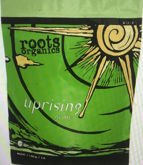 Roots Organics Uprising Grow is a diverse blend of natural and organic ingredients specially formulated for maximum results. This formula is effective alone, as an amendment, or as a top dress for encouraging vigorous growth. However, it is particularly effective when used in conjunction with Roots Organics Uprising Bloom for a plant's flowering phase and Roots Organics Uprising Foundation as a supplement.
