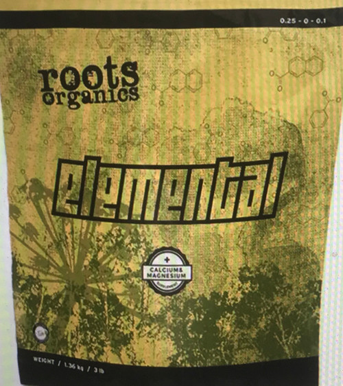 Roots Organics Elemental macronutrient and micronutrient supplement was specifically created to augment calcium and magnesium levels and prevent deficiencies that can occur with fast-growing plants. Elemental contains two absolutely essential macronutrients: calcium, an essential nutrient for plant health due to its role in cell walls, membranes and other biochemical processes; and magnesium, which is a central component of the chlorophyll molecule. Supplementing calcium and magnesium is one of the secrets of expert growers and results in more vigorous plants and larger yields.
