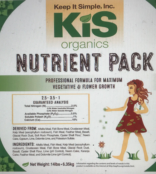 KIS Organics  Grow from seedling to harvest with no other inputs but water for up to 6 months. Produce Healthier & Higher-Yielding Crops  A registered for organic use with CDFA blend of specially formulated ingredients that allow the plant to uptake all the essential nutrients it needs to give you an abundant harvest. Only the Highest Quality Ingredients      No manures     No guanos     No synthetic chemicals     No need to flush your soil     No fillers  Great for:      Top Dressing Nutrient Deficient Soil     Amending Recycled Soil     Creating Water-Only Soil  KIS Organics Nutrient Pack is the nutrient and mineral portion of our Water Only and Biochar Soil Mixes for all container and raised bed plants. Ingredients are all organic and natural (minerals). The KIS Organics Nutrient Pack has all the nutrients, and minerals your plant needs to be happy and healthy for up to 6 months.  The Regular Nutrient Pack is enough to make 4 cubic ft of Water Only Soil or re-amend 1 yard of soil.  The Large Nutrient Pack is enough to make 12 cubic ft of Water Only Soil or re-amend 3 yards of soil. Basic Directions for Application General Top Dressing Application for Nutrient Deficient Soils      Apply 1 cup of nutrient pack per 10 gallons of soil in growing media pots or 1/2 cup per square foot of soil outdoors.     Lightly scratch or till into soil.  Amend Recycled Soil (Per Gallon of Reused Soil)      0.8 oz to 1.6 oz KIS Nutrient Pack     5 oz aeration amendment     5 oz high-quality compost or earthworm castings  Mix and wet thoroughly. Allow 24-48 hours before planting. Do You Want to Build Your Own Water Only Soil?  If you're interested in creating your own water only soil, check out this blog post for full recipe and instructions.   Advantages of KIS Organics Nutrient Packs  1. Save on shipping by sourcing your base soil ingredients locally.  2. Thoroughly tested on multiple plants/vegetables all the way to harvest.  3. No need for further nutrients or fertilizer, saving you tons of money! (see my blog post here if you would like an advanced schedule to fully maximize plant growth with some minimal plant-specific inputs)  4. 100% natural and organic ingredients, no synthetic chemicals.  5. Save money! Keep your soil alive and healthy. You can reuse KIS Organic soils over and over again with small amendments between cycles.   6. Use it indoors or outdoors. Keep in mind that this soil is alive and there will be some insects and other small organisms in the soil. This is necessary to maintain a healthy soil food web and achieve proper nutrient cycling. You don't want a sterile soil for organic gardening/growing.  7. You can use your current nutrient program at 1/4 strength with our soil mix to produce healthier & higher-yielding crops.  Ingredients:  KIS Organics Microbe Catalyst, Organic Alfalfa Meal, Organic Fish Bone Meal, Organic Crustacean Meal, Organic Kelp Meal, Organic Fish Meal, Glacial Rock Dust, Basalt, Soft Rock Phosphate, Oyster Shell Flour, Neem Cake and Karanja Cake, Gypsum, Natural Calcite, Mycorrhiza, and Beneficial Microbes.
