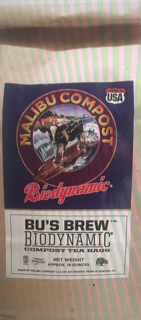 Bu's Brew Compost Tea for Plants, helps create strong, healthy vigorousplants in an organic way, rather than using synthetics or conventional Ag by-products.  Malibu Compost Bu's Brew Compost Tea for Plants,   Is made from Compost (organic dairy cow manure, wood chips), dandelion, chamomile, stinging nettle, yarrow, oak bark, valerian.  Simply drop atea bag into water, stir and let sit overnight. Squeeze and stir the next morning and drench the soil of your plants and/or add to a spray bottle for a foliar spray.See all the benefits below of using Bu's BrewCompost Teafor your healthy garden:  Supports your garden to create healthy soil  Improves soil tilth and soil structure Improvesplant growth Creates stronger, healthier plants Speeds up the breakdown of toxins Mitigates transplant shock Reduces water loss on your property Improves water retention Improves root depth Improves soil compaction Organic Biodynamic Non-GMO No conventional Ag by-products No greenwaste No pesticides No herbicides No growth hormones No sewage sludge Does not have cheap fillers, synthetics or GMO feedstocks Simple and easy to use  MalibuCompost Bu's Brew Compost Tea for Plants, Trees and Shrubs     1. Add 1 tea bag to 2 to 5 gallons of water.  2. Steep compost tea bag for 8 to 12 hours, then use immediately.  3. After steeping, give the tea bag a squeeze, then remove it from the compost tea.  4. Recycle tea bag into your compost pile or garden.  5. Aerate compost tea by stirring for a moment before applying.  6. Use a watering can to drench the soil base with compost tea, or use a sprayer to apply to your plants, trees and shrubs. When drenching, apply tea at the same rate as a normal watering for the specific plant. 7. Apply once a month for optimum results.