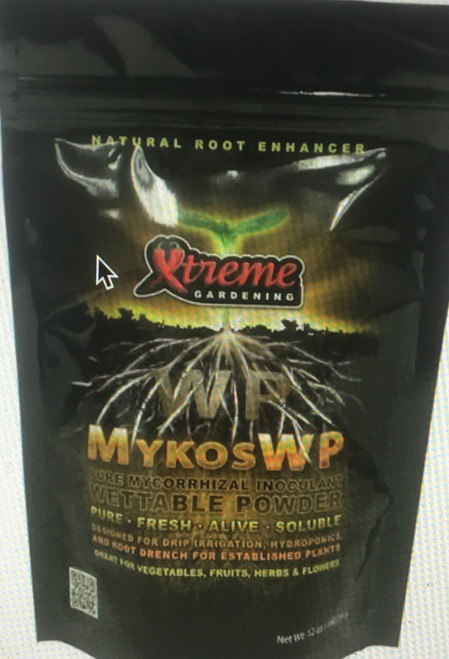 Mykos Wettable Powder is refined to provide an effective inoculant that may be injected through a sprayer, applied in hydroponic reservoirs, and used as a seed or cloning treatment. It is a fast-growing, beneficial fungi that connects many of the beneficial microbes in soil and hydroponic media to host plants. This symbiotic relationship increases the supply of nutrients to plants, increasing the availability of both moisture and most of the fundamental elements required for plant growth. Greater nutrient availability leads to a bounty of healthier bigger plants and bumper crops.  Benefits:  Faster Germination Inoculation of All New Roots Increases Growth Healthier Root Development Larger Yields More Nutrient-Dense Harvests Solubility