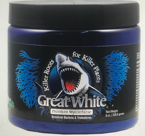 Great White is a premier mycorrhizal product. It contains carefully selected mycorrhizal fungi and bacteria well-suited to a variety of soils, climates and plants.  The microbes in Great White enhance the availability or uptake of plant nutrients and water through the root system.  In nature, fungi build a microbial system in and on plant roots which greatly enhance plant vigor.