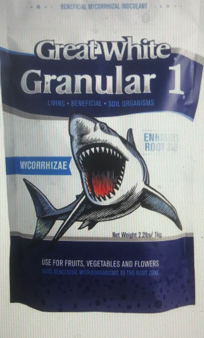 Great White Granular 1 is the most affordable organic, mycorrhizal product in the marketplace.  It is well-suited for use in vegetable, fruit and flower gardens.  Great White Granular 1 adds beneficial microorganisms to the root zone to enhance plant vigor and is OMRI AND OIM certified.
