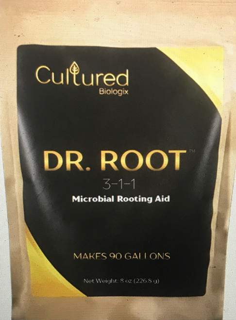 Dr. Root is a natural rooting inoculant that combines root growth promoting bacteria, endomycorrhizae, and aloe vera extracts to promote new root growth and root mass development. This rooting formulation contains:      Beneficial Microorganisms (endomycorrhizae, azospirillum spp., brevibacillus, spp.,)     Pre-Biotics (proteins, carbohydrates, etc.)     Root Growth Promoting Substrate (aloe vera extracts, precursors to rooting compounds, seaweed extracts, and humic acids)  Beneficial Bacteria  Rhizophagus irregularis Azospirillum brasilense Bacillus licheniformis Brevibacillus laterosporus Application Information  Container Plants (Soil / Soilless): Mix 1 tsp. (2.5 grams) – 1 TBL. (7.5 grams) of Dr. Root per gallon of water and apply to seedlings, rooted cuttings, and upon transplanting.  Seeds: Mix 1 tsp. (2.5 grams) per gallon of water (¼ tsp. per 1 Qt of water). Soak seeds for 12 hours in the Dr. Root solution. Then drain and plant seeds into the desired medium.  Clones: When clones are first taken, soak them for 15 to 30 minutes in a Dr. Root solution at 1 tsp. (2.5 grams) of Dr. Root per gallon of water. Lightly moisten the propagation plugs with Dr. Root solution and plant into plugs. Rehydrate with Dr. Root when plugs dry.  Transplanting: Mix 1 TBL. (7.5 grams) per 1 gallon of water. After planting, apply liquid concentrate over the root zone to water the plant. For best results, lightly dust the transplant hole with granular mycorrhizae before transplanting.