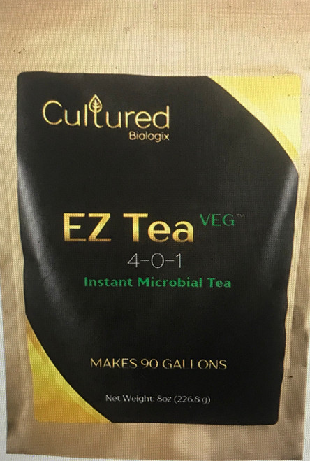 EZ Tea Veg is an instant microbial tea that contains all the aspects of a compost tea, but without the mess, hassle, or smell of brewing compost tea. This vegetative-specific formulation contains:      Beneficial Microorganisms (nitrogen-fixing & composting bacteria)     Enzymes (protease & cellulase)     Pre-Biotics (proteins, carbohydrates, etc.)     Plant Growth Promoting Substrate (protein-based nitrogen, humic acids, and seaweed extracts.)  Safe for reservoirs, propeller pumps, and pressurized irrigation systems (Sprinkler and Drip Irrigation Systems). Resistant to chlorinated water, pH swings (4.0 – 9.0), and excessive PPM (2000+). Beneficial Bacteria  Azospirillum brasilense Bacillus amyloliquefacians Bacillus licheniformis Bacillus mucilaginosus Bacillus subtilis Brevibacillus laterosporus Application Information  Container Plants (Soil / Soilless): Mix 1 tsp. – 2 tsp. (2.5 – 5.0 grams) of EZ Tea Veg per 1 gallon of water. Apply once a week throughout the vegetative growth phase of the plant. No brewing necessary. For best results, use in between feedings.  Compost Tea Accelerator:  Mix 1 TBL (7.5 grams) of EZ Tea Veg per 5 gallons compost tea solution before brewing. Let compost or worm castings brew with EZ Tea Veg for 12 to 24 hours then apply to plants.