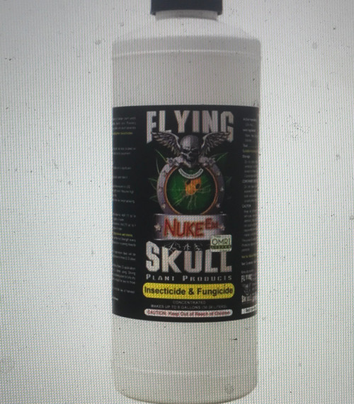 Nuke Em:      Listed Organic by OMRI (Organic Materials Review Institute)      Kills Spider mites, Leaf Aphids, Whitefly and more     Kills eggs, larvae, juvenile and adult insects     Reduces Powdery Mildew      Is concentrated and economical     Is approved for use on the day of harvest     Is safe around people and pets when used as directed     Doesn't alter the taste or smell of growing crops or finished produce     Doesn't lower the value of produce     Doesn't slow photosynthesis by reducing light to photon cells on leaves as oil pesticides can     Doesn't slow photosynthesis from residue clogging the leaf stomata as oil pesticides can     Doesn't contain high concentrations of oils     Doesn't contain chemical surfactants     Doesn't contain petroleum or Pyrethrin's     Doesn't smell bad     Doesn't make leaves, stems, and flowers sticky like oil pesticides can   The Organic pesticide Nuke Em has been introduced to the indoor/outdoor gardening community by Flying Skull Plant Products. This multi-purpose Organic insecticide & fungicide is listed for Organic use by OMRI (Organic Materials Review Institute). It kills the eggs, larvae, juvenile and adult insects. Nuke Em targets all species of Mites, Leaf Aphids, Whitefly and other plant leaf and soil insect parasites. Its unique formula also allows for outstanding control of the vast varieties of powdery mildew and mold found in the garden. Nuke Em is different than oil-based pesticides (oil-based pesticides have oil as their active ingredient). Nuke Em will not slow the plant's growth like oil-based pesticides can. Also, Nuke Em will not significantly lower the light coming into leaf cells and it will not significantly obstruct air from going into and out of the leaf's stomata as oil-based pesticides can. Nuke Em has killing power while allowing the plant to thrive while going through treatment. Nuke Em is the correct choice.