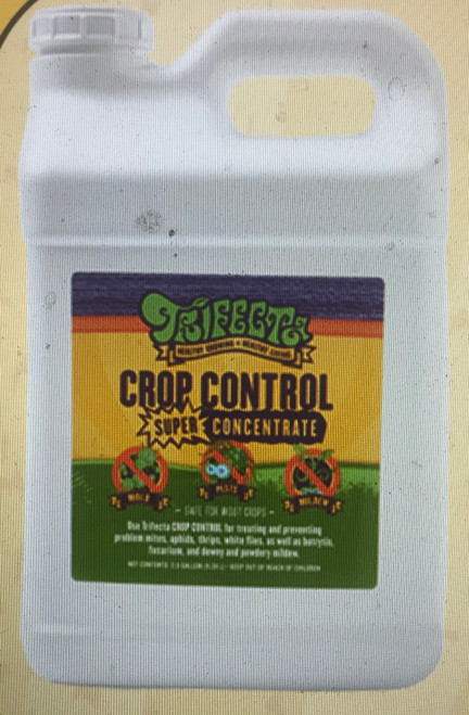 Trifecta pest control    Trifecta Crop Control is a FIFRA (25b) exempt pesticide, fungicide, and miticide made from non-toxic, food grade essential oils that are blended with a nano-saponified emulsifier (soap).  The essential oils used to manufacture Trifecta Crop Control were also chosen for their ability to mitigate and repel pest insects.  Similar to the action that occurs on the lipid shells of molds and mildews, terpenes and terpene alcohols break down the chitin in insect's exoskeletons. Using our technology the particle size of the essential oils in the water become so small that the respiratory systems of pests are also impacted by contact, essentially suffocating them.  Most commercially available insecticides affect the endocrine systems of pests, and over time pests evolve resistance to these molecules. The respiratory system is different; there is no evolving a resistance to something that prevents the ability to breathe.  Trifecta Crop Control works on molds, mildews, and pests, using food-safe essential oils, and does it in novel ways using a nano sized soap molecule as a delivery vehicle to allow it to do its work.  Trifecta uses clove oil which contains eugenol a terpene that causes cell lysis in fungal species, peppermint oil contains Mentha piperita for reproductive inhibition, garlic oil for repellency, corn oil as a suffocant, citric acid for chelating calcium in insect's exoskeletons and thyme oil for endocrine disruption.  To make Trifecta we use a proprietary high sheer milling process that cuts the essential oil droplets into nano-sized particles. This nano-sized formulation causes accelerated bio-degrading of the oils so that there is no residue left over within 48 hours.  Our ingredients were chose for specifically for synergies that occurs between all those essential oils, and our manufacturing process is unique. We utilize a high shear homogenization process that shears the soap and essential oils together into smaller and smaller micelle particles.