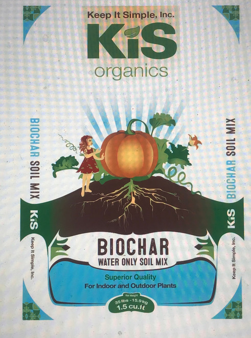 """KIS Organics Biochar Soil Mix is a revolutionary """"water only"""" soil mix for all container and raised bed plants that is registered for organic use with CDFA. Ingredients are comprised of organic and natural (minerals). No need to worry about burning your plants either, just plant and water until harvest. Get rid of all your bottled nutrients, and forget about confusing and expensive trips to the hydro shop or garden center. This soil mix has all the beneficial biology, nutrients, and minerals your plant needs to be happy and healthy for up to 6 months.  Ingredients:  Black Owl Biochar, Spaghnum Peat Moss, Oly Mountain Fish Compost, Earthworm Castings,  Volcanic Pumice, KIS Organics Microbe Catalyst, Glacial Rock Dust, Basalt, Calphos Soft Rock Phosphate, Oyster Shell Powder, Organic Alfalfa Meal, Organic Fish Bone Meal, Organic Crustacean Meal, Kelp Meal (ascophyllum nodosum), Neem Cake, Karanja Cake, Organic Fish Meal, Organic Feather Meal, Organic Steamed Bone Meal, Natural Calcite, Ag Lime, Mycorrhiza*, and Beneficial Microbes.  Advantages of our soil mix:  1. We use Black Owl Biochar at 8% of our total media. The biochar soil is then charged with fish hydrolysate. To read more about biochar, visit www.biocharsupreme.com   2. We use lab and microscope tested compost and peat to ensure good biological activity.  3. We inoculate our soil mix with additional microorganisms to further increase microbial life and nutrient cycling.  4. No risk of burning your plant, just plant and go!  5. No need for further nutrients or fertilizer, saving you tons of money! That being said, I've posted an advanced nutrient schedule though on our blog (click here).  6. 100% natural and organic ingredients, no synthetic chemicals.  7. Can be reused over and over again, with only small amendments between cycles. We have tested and re-amended the soil up to 5 years in indoor beds.  8. Can be used indoors or outdoors, though keep in mind that this soil is alive and there will be some insect"""