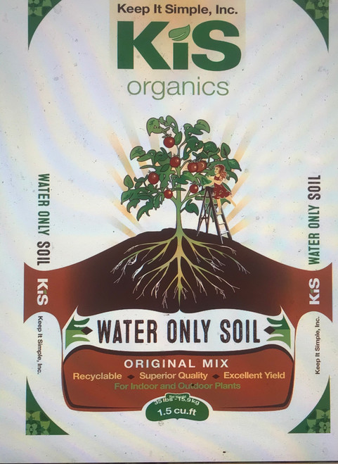 """KIS Organics Water Only Soil Mix is a revolutionary """"water only"""" soil mix for all container and raised bed plants that is registered for organic use with CDFA. Ingredients are comprised of organic and natural (minerals). No need to worry about burning your plants either, just plant and water until harvest. Get rid of all your bottled nutrients, and forget about confusing and expensive trips to the hydro shop or garden center. This soil mix has all the beneficial biology, nutrients, and minerals your plant needs to be happy and healthy for up to 6 months.  Ingredients:  Sphagnum Peat Moss, Oly Mountain Fish Compost, Earthworm Castings,  Volcanic Pumice, KIS Organics Microbe Catalyst, Glacial Rock Dust, Basalt, Calphos Soft Rock Phosphate, Oyster Shell Powder, Organic Alfalfa Meal, Organic Fish Bone Meal, Organic Crustacean Meal, Kelp Meal (ascophyllum nodosum), Neem Cake, Karanja Cake, Organic Fish Meal, Organic Feather Meal, Organic Steamed Bone Meal, Natural Calcite, Ag Lime, Mycorrhiza*, and Beneficial Microbes.  Advantages of our soil mix:  1. We use lab and microscope tested compost and peat to ensure good biological activity.  2. We inoculate our soil mix with additional microorganisms to further increase microbial life and nutrient cycling.  3. No risk of burning your plant, just plant and go!  4. No need for further nutrients or fertilizer, saving you tons of money! Click here if you would like an advanced schedule to fully maximize plant growth with some minimal plant specific inputs  5. 100% natural and organic ingredients, no synthetic chemicals.  6. Can be re-used over and over again, with only small amendments between cycles. We have tested and re-amended the soil up to 5 years in indoor beds.  7. Can be used indoors or outdoors, though keep in mind that this soil is alive and there will be some insects and other small organisms in the soil. This is necessary to maintain a healthy soil food web and achieve proper nutrient cycling. You don't want a steril"""