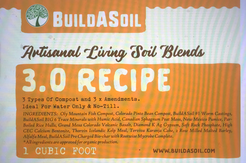 """BuildASoil's Heaviest amended soil recipe was designed with the """"Water Only"""" grower in mind. Based on Logan Labs soil testing we designed a soil with more everything. This 3.0 Recipe is our richest soil and is still be balanced enough for most all plants. The goal was a compost based soil without any dirty ingredients that would last longer and push harder. If you are used to Super Soil this will perform as you would expect. This potting soil mix has been the favorite for customers that want everything already in the soil when they open the bag. Compared to our other potting soil recipes this is our most loaded up potting mix. Excellent for flowering and full term growth.  Potting Soil Ingredients:  Oly Mountain Fish Compost, Colorado Pinto Bean Compost, BuildASoil Worm Castings, BuildASoil BIG 6 Trace Minerals with Humic Acid, Organic Canadian Sphagnum Peat Moss, Organic New Mexico Pumice, Organic Par-Boiled Rice Hulls, Grand Mesa Colorado Volcanic Basalt, Organic Diamond K Gypsum, Clean Sourced Calcium Phosphate, Premium Calcium Bentonite, Organic Thorvin Icelandic Kelp Meal, Organic Terviva Karanja Cake, Organic 2 Row Milled Malted Barley, Organic Alfalfa Meal, BuildASoil Pre Charged Bio-char with Rootwise Mycrobe Complete"""