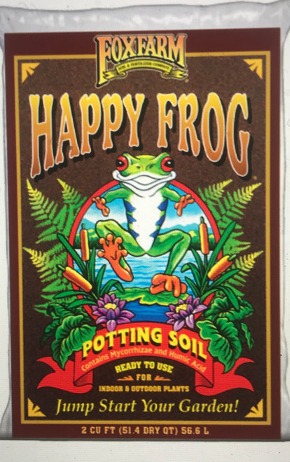 Your potted plants deserve the best. Their roots can't seek out nutrition in the ground, so you have to bring it to them. That's why Happy Frog Potting Soil is amended with soil microbes that can help improve root efficiency and encourage nutrient uptake.  Between the earthworm castings, bat guano, and aged forest products, your container plants have never felt so good.   Garden tip: Happy Frog Potting Soil is designed for container planting. Whether you're growing a ficus in the dining room, a geranium on the patio, or a lemon tree on the deck, use FoxFarm's Potting Soil in your containers. For additional nutrition, blend in our Happy Frog Fruit & Flower Fertilizer. Then sit back and enjoy the results.  Embrace the Vitality of Happy Frog!