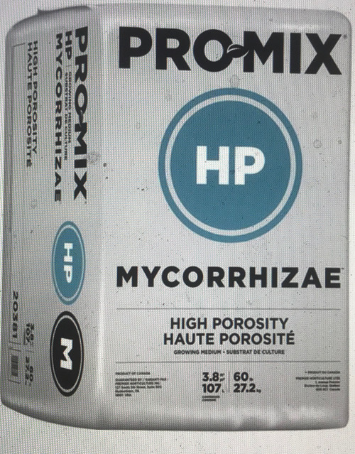 PRO-MIX HP MYCORRHIZAE™ is a high porosity peat-based growing medium containing, beneficial mycorrhizal inoculum (Glomus intraradices). This formula ensures optimum growth, especially when high air capacity and extra drainage are required. It is ideal for water sensitive crops, rooting cutting and/or low-light growing conditions.  Ingredients:      Canadian Sphagnum peat moss (65-75% by volume)     Perlite - horticultural grade     Dolomitic and Calcitic limestone (pH adjuster)     Wetting Agent     Mycorrhizae - endomycorrhizal fungi (Glomus intraradices)