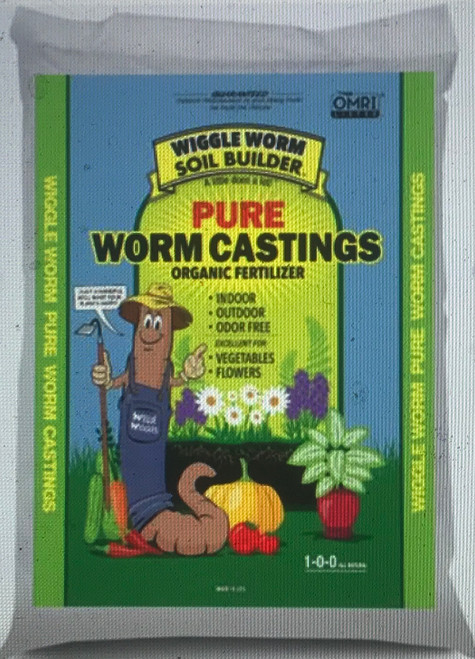 Wiggle Worm Soil Builder PURE Worm Castings are an organic fertilizer that, because they are pure, when a small handful is added during transplant you could see plants that are 3 times larger and more fruitful. This makes it extremely cost effective.  Wiggle Worm Soil Builder has been on the market for 4 decades, has the BEST price, GREAT margins and LOYAL repeat customers.   Wiggle Worm Soil Builder is OMRI and CDFA certified and a registered organic fertilizer.