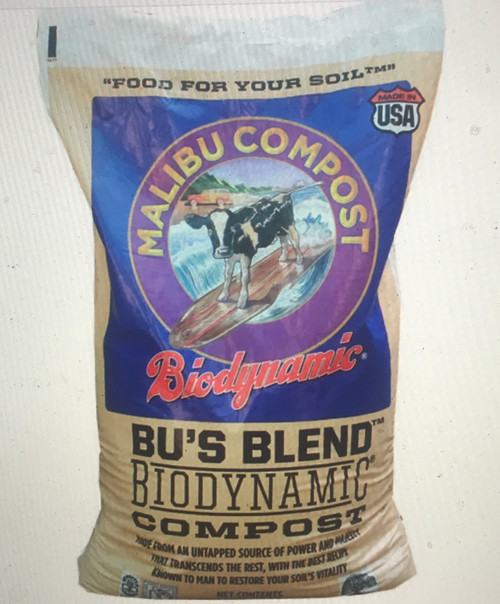 Malibu Compost Bu's Blend Biodynamic Compost Composted organic dairy cow manure, straw, wood chips, and biodynamic concentrations of yarrow, chamomile, valerian, stinging nettle, dandelion and oak bark.