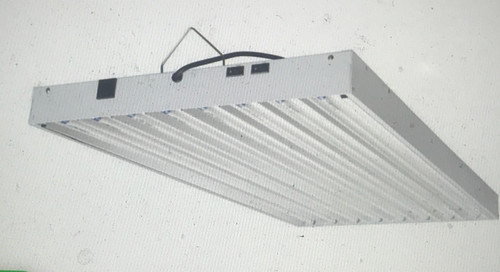 Hydro Crunch T5 4x8 LED Fixtures are built with 95% reflective aluminum interior to maximize light intensity and distribution and is perfect for the vegetative growth period of your plants. This fixture can be hung horizontally or vertically, 8 x 6500K LED bulbs included, slotted housing for optimal cooling, runs on 110-Volt. Propagate your seedlings effectively, made for plant propagation. 26,400 total Lumen in the blue spectrum is perfect for propagating seedlings, clones, or keeping plants happy year round. Includes FREE pair of rope hangers.  Perfect for propagating clones, seedlings or keeping plants happy year round Grow light fixture features steel housing with grow louvered slots for efficient cooling 95% highly reflective aluminum reflector for maximum light output 8 x 6500K lamps included 8 ft. 110-Volt power cord that plugs into a standard outlet Bulbs included Daisy chain-able feature (up to 2 fixtures per outlet) Dual switch feature