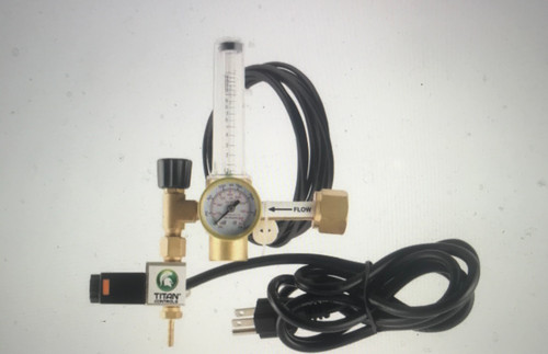 CO2 Controllers or other 120 Volt controllers and timers. Precision accuracy flow meter—0.5 to 15 SCF/hour. Features heavy-duty solenoid valve. High-quality oilless pressure gauge. Includes two plastic tank washers and 12 ft of CO2 dispensing line. Brass construction for long-lasting dependability and durability. 1 Amp/120 V/ 60 Hz.
