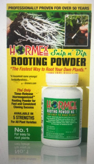 Hormex Rooting Powdered rooting compound is economical and effective. The fastest way to start new plants from cuttings. Encourages quick root development faster and healthier growth of new roots from cuttings.  Grows new African violets, roses, poinsettias, geraniums and most other popular home, garden and greenhouse varieties.