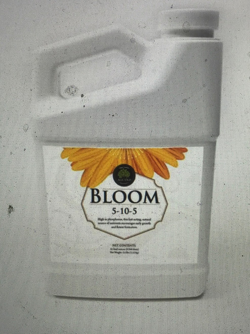 Bloom 5-10-5  Bloom is an odorless formula that supplies plants with a fast-acting, natural source of nutrients high in phosphorus. The high phosphate levels encourage early flowering and better fruitset for most fruiting plants and vegetables. Liquid Bloom may be used in both foliar feed and soil drench applications, soak roots in diluted Liquid Bloom before transplanting for a greater root mass.