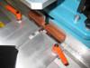 Hoffmann half-lap joint fixtures on Hoffmann X-20 routing machine, bottom cut