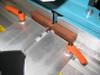 Hoffmann half-lap joint fixtures on Hoffmann X-20 routing machine, face side cut