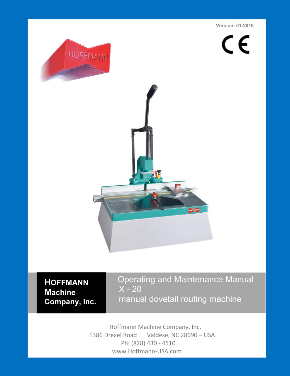 Operating Manual for Hoffmann X-20 dovetail routing machine