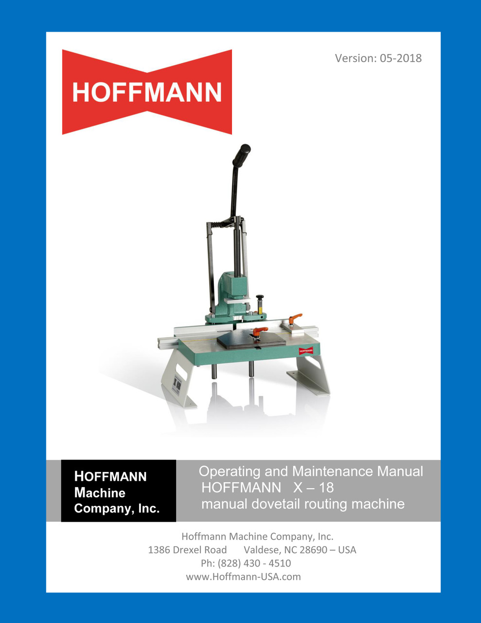 Hoffmann X-18 Operating Manual