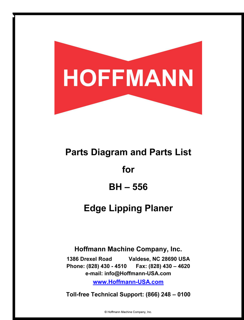 BH-556 Parts Diagram and Parts List