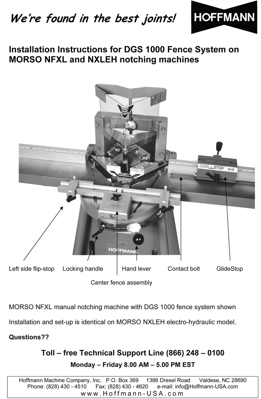 Operating Manuals for DGS 1000 Fence System for MORSO machines