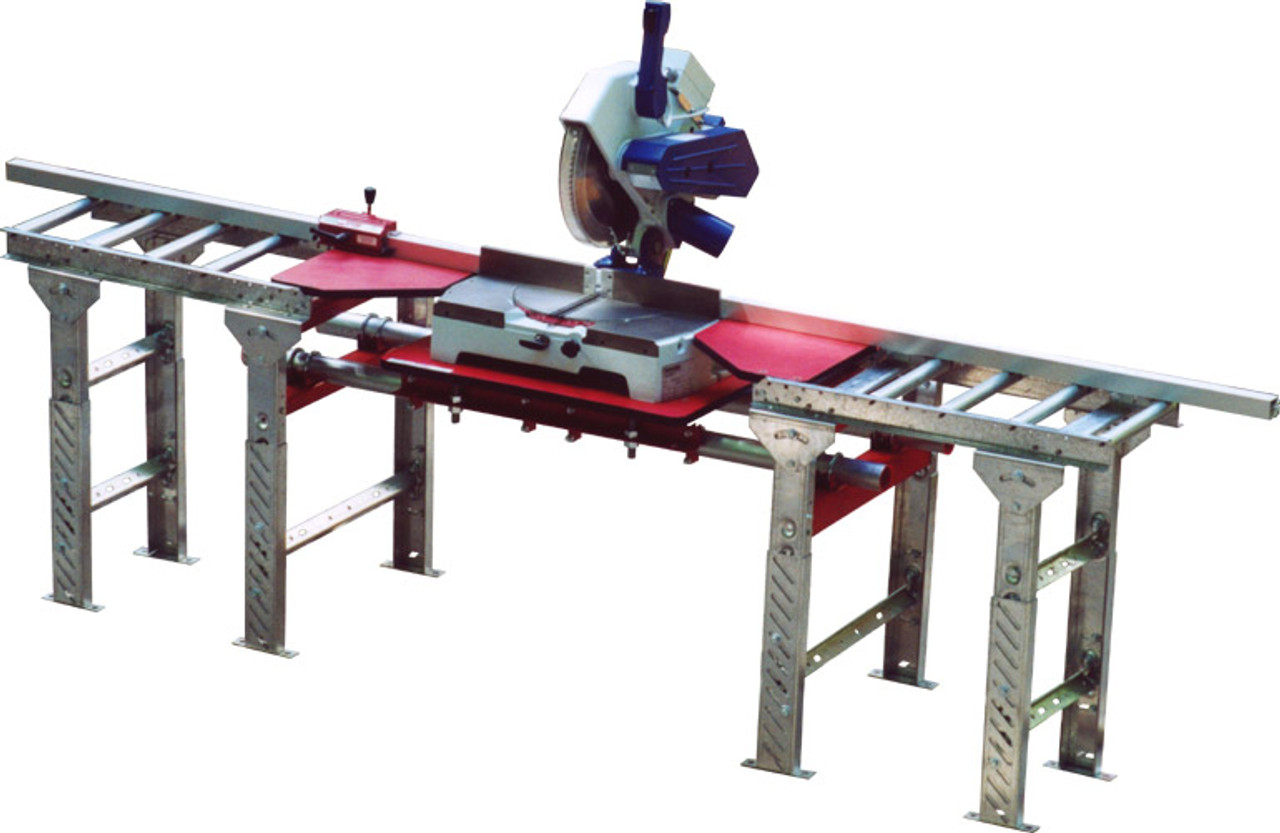 QSMT-6.5x4-FS Quick Silver Miter Saw Tables, 6.5ft. - 4ft., freestanding, roller top, by Hoffmann-USA